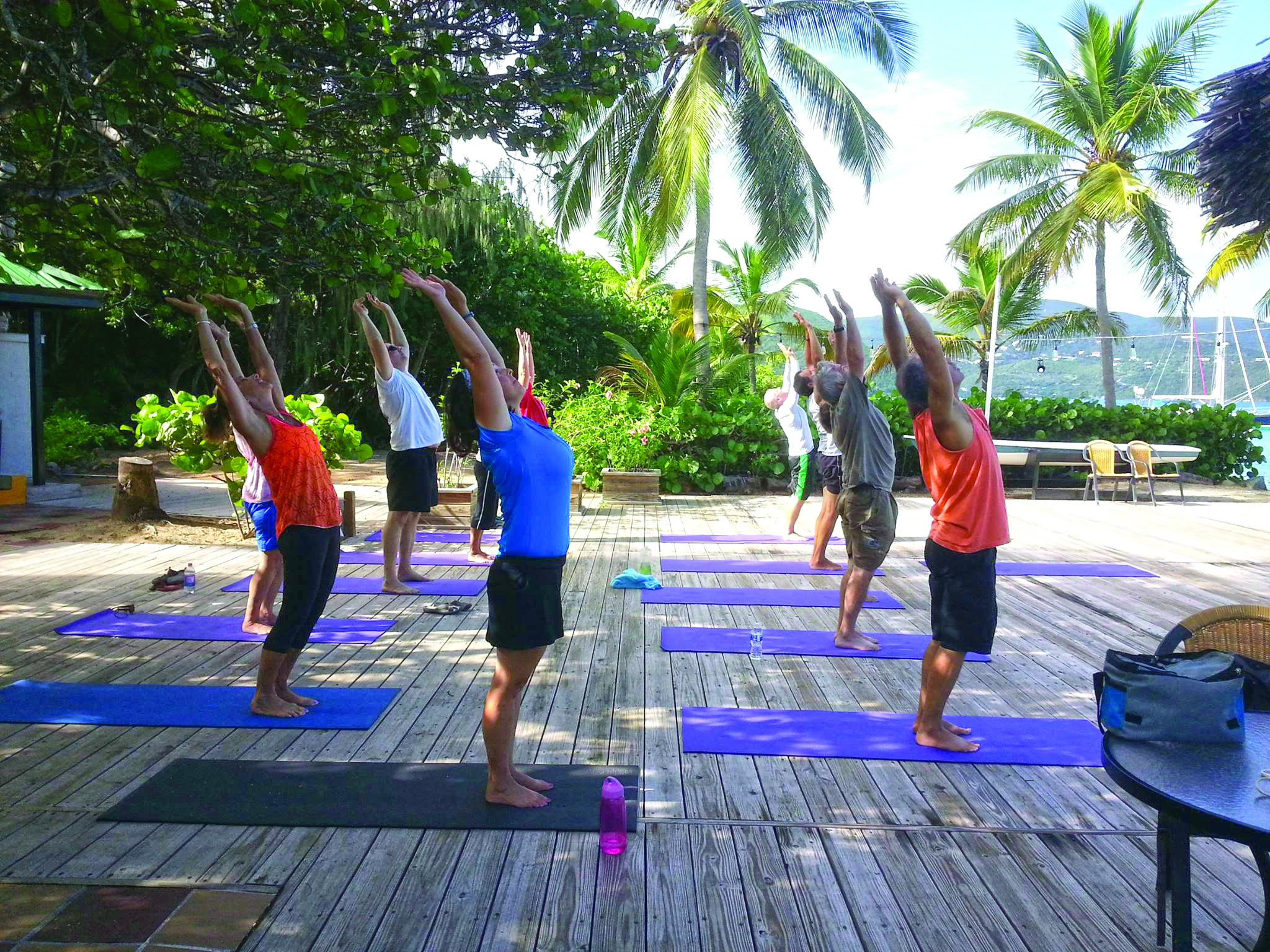 Sailors enjoying yoga in the BVI.