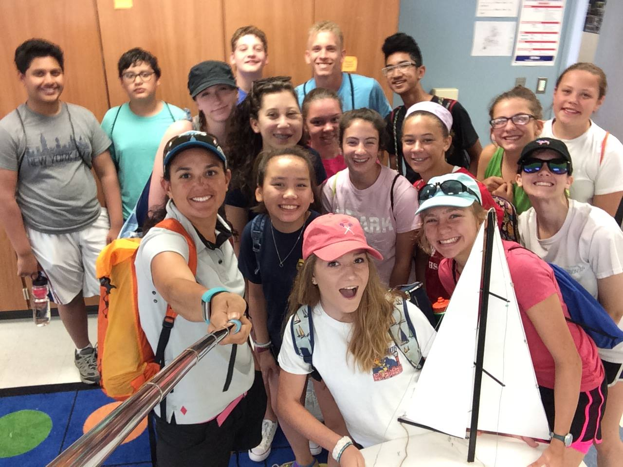McKenna (with selfie stick) and students at the National Sailing Hall of Fame in June. (facebook.com/nshof)