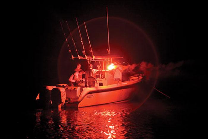 Flare testing at night. Photo courtesy of BoatUS Foundation