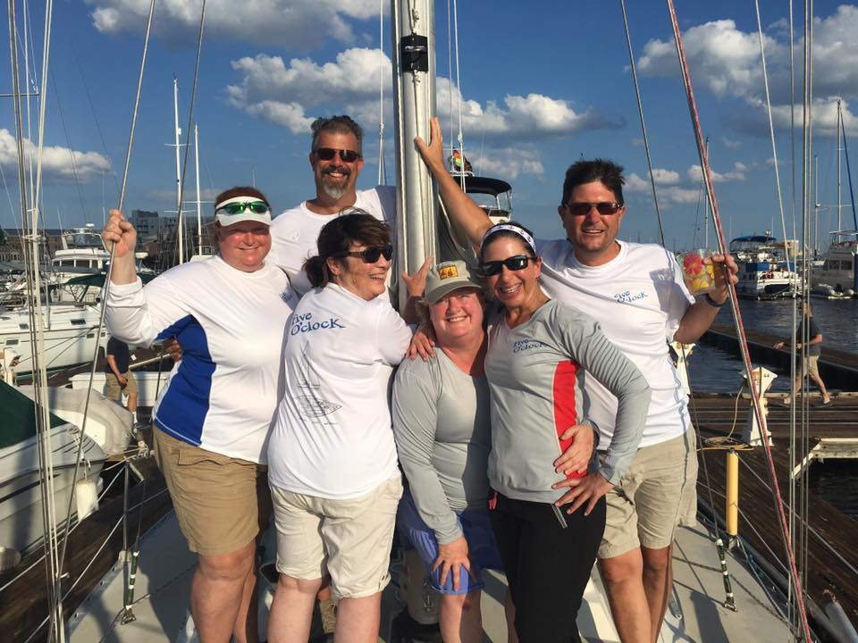 Race to Baltimore with new Five O'Clock crew shirts: Julianne, Dave, Linda, Elaine, Suzy, and Mike.