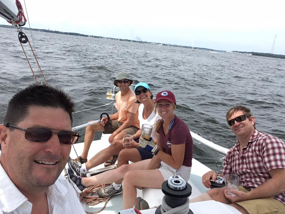 Michael, Harald, Molly, Melinda, and Judah on the Cape Fear 38 Xiberger.