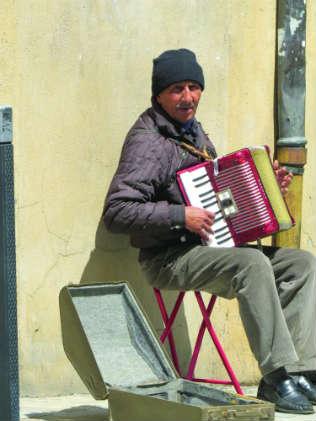 A street musician in Dijon, France.