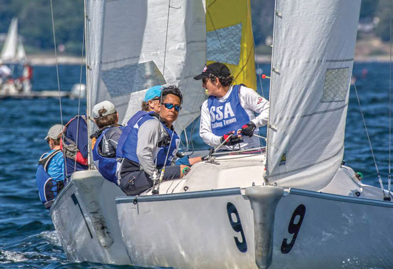 Keeping their eyes on the competition (and their teammates) at the Hood Trophy Regatta. Photo by Bruce Durkee for CYC.