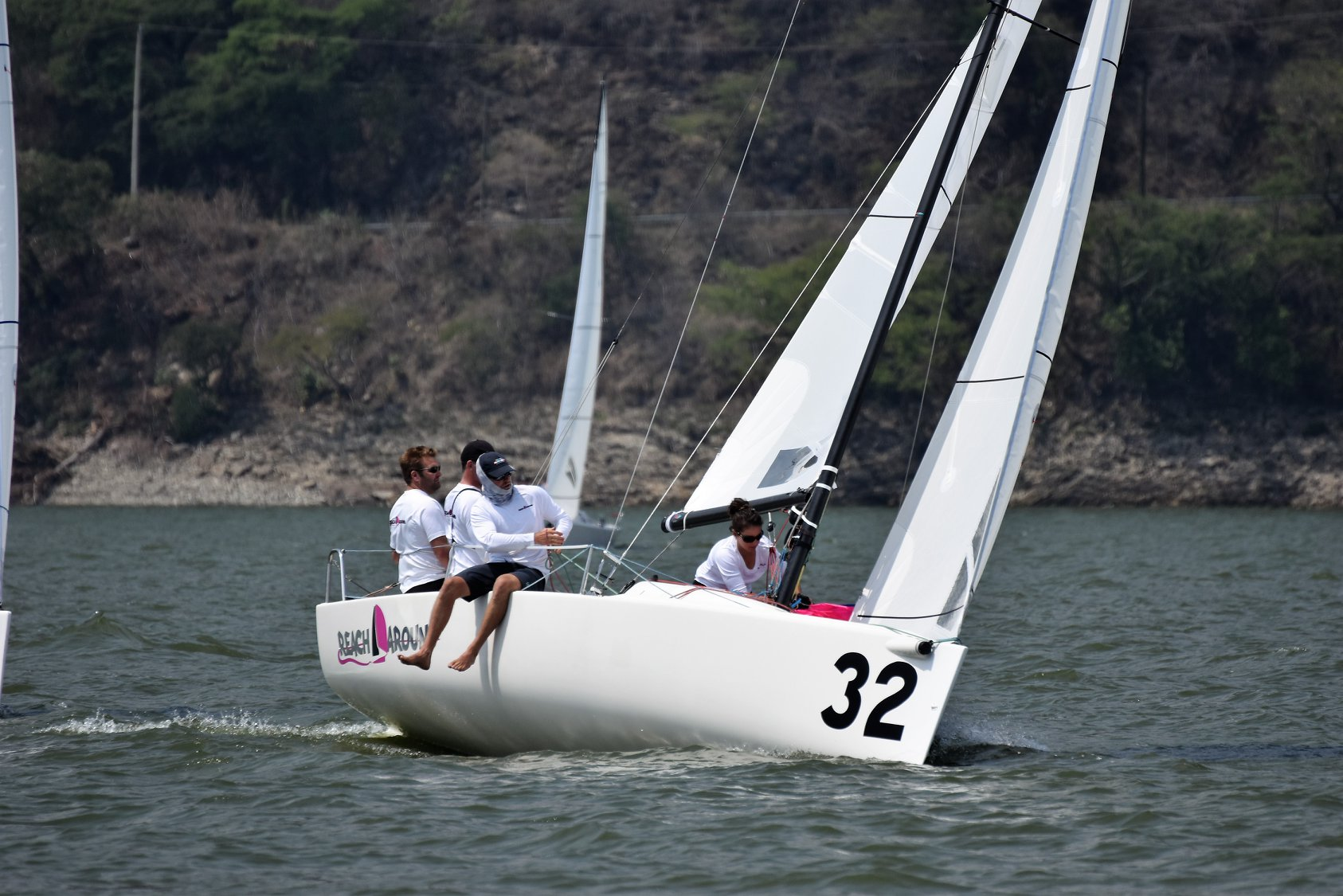 Thom Bowen and his winning Reach Around crew at the J/70 NAs. Photo courtesy of the J/70 Class Association Facebook page