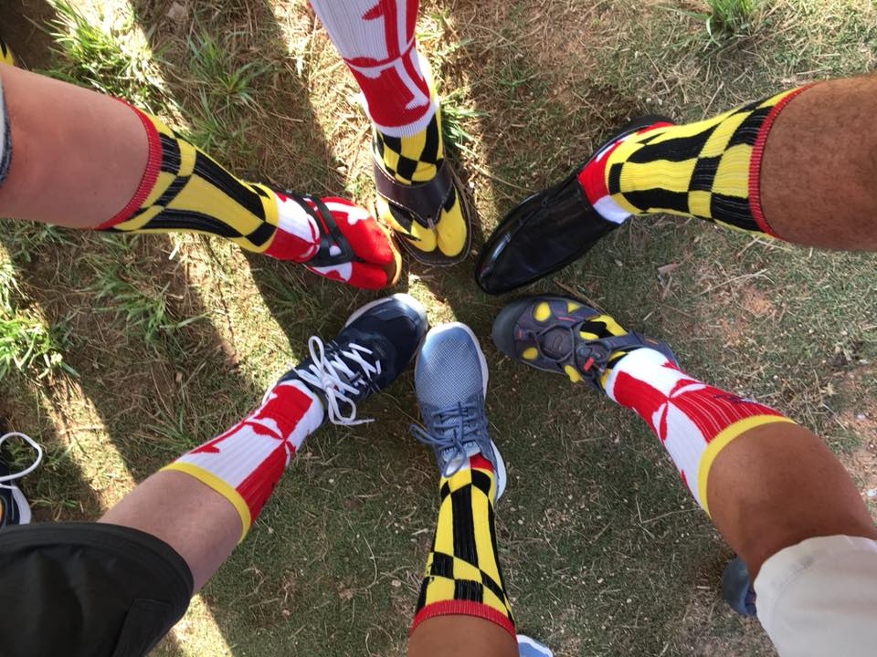 Joe Laun Lynn McClaskey Tom, Lara, Russ and crew at the awards ceremony for the 2018 A2B Race. Maryland meets Bermuda socks!! Photo courtesy of A2B Facebook page