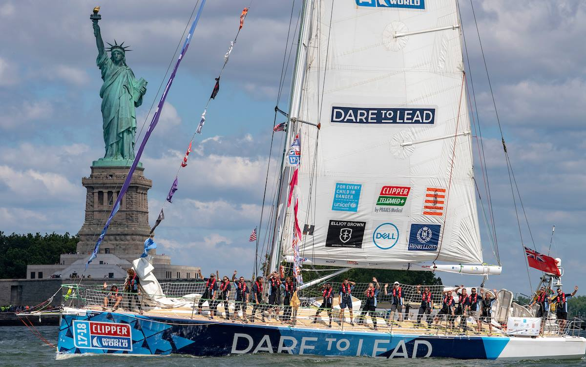 Team Dare To Lead departs New York for the last leg of the 2017-18 Clipper Round the World Race. Photo courtesy of Facebook