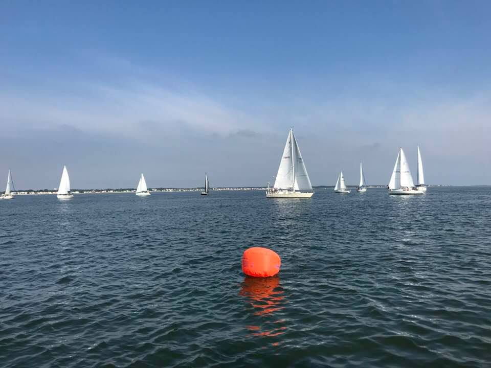 View from the committee boat on Saturday. Photo Old Point Comfort YC Facebook page