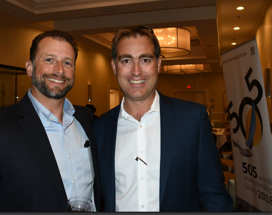 Jesse Falsone and Nic Harvey, president of Jeanneau, who donated the VIP spectator boat