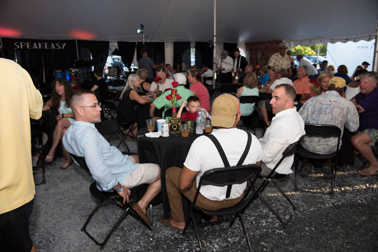 A full house under the party tent