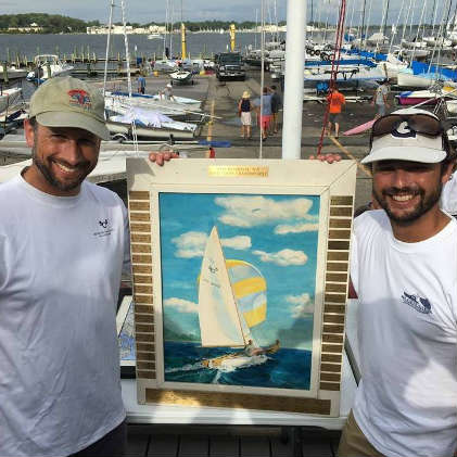 Jesse Falsone, regatta chair, shown here (left) after winning the 2016 505 East Coast Championships.