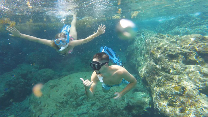 Snorkeling is a favorite activity for sailors in the Caribbean.