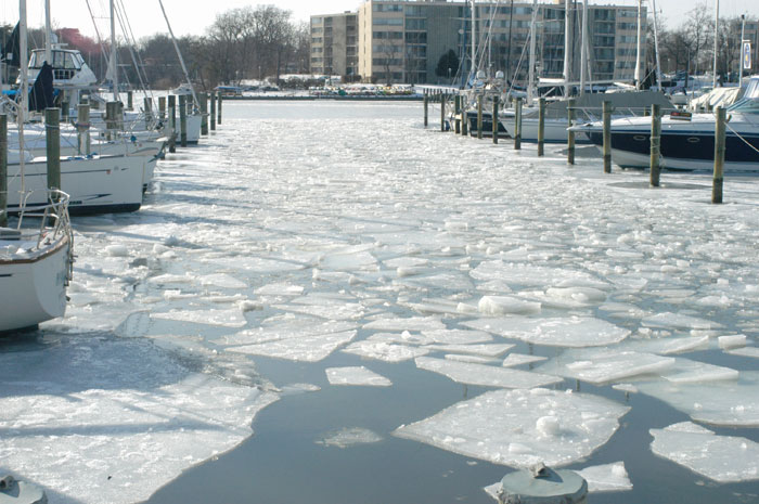 During a previous winter chunks of ice floated in Annapolis's Back Creek.