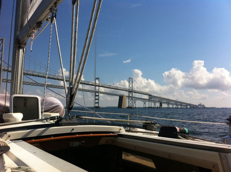 The Bay Bridge as seen from a sailboat cockpit. Photos by Martina Sestakova