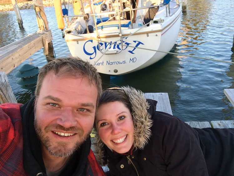 Damian and Hannah and their new-to-them Catalina 30.