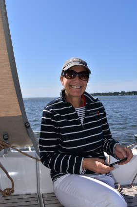 Holly Foster enjoying a sail off Annapolis on the DuFour 360