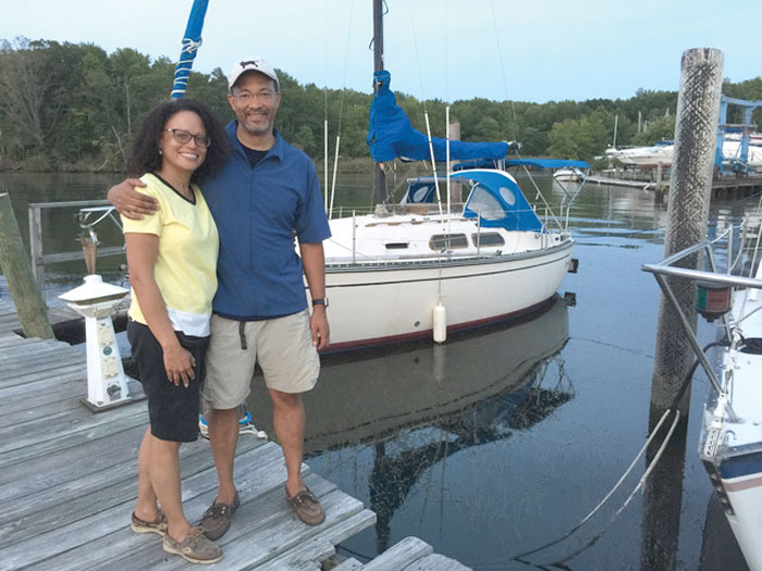In the summer of 2017 Derrick and Noemi sold their first boat and made a hug leap by purchasing a Hunter Legend 40.