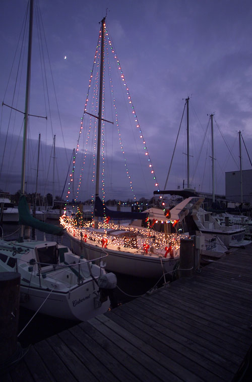 Ring in the holidays with a lighted boat parade. Photo courtesy of Hampton Convention and Visitor Bureau