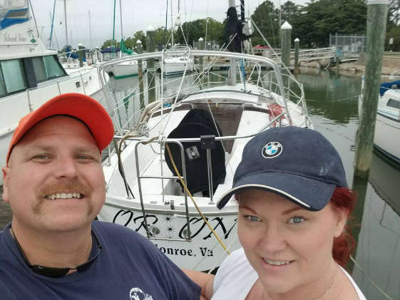 Bay gourmets Frank and Tina LeAnne and their Catalina 30.