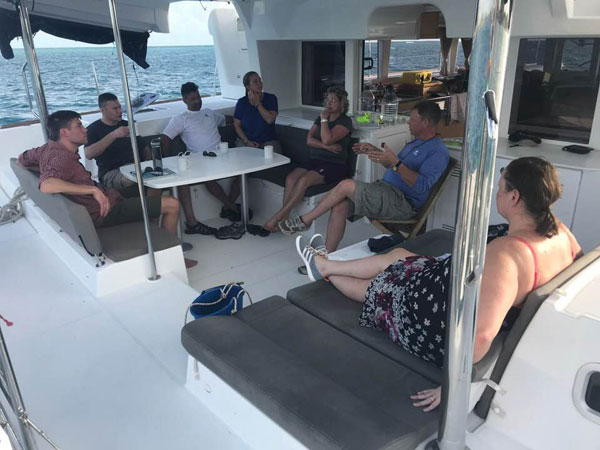 Nick and Chaya, center, during the Sail Solomons Flotilla 2018 in Antigua
