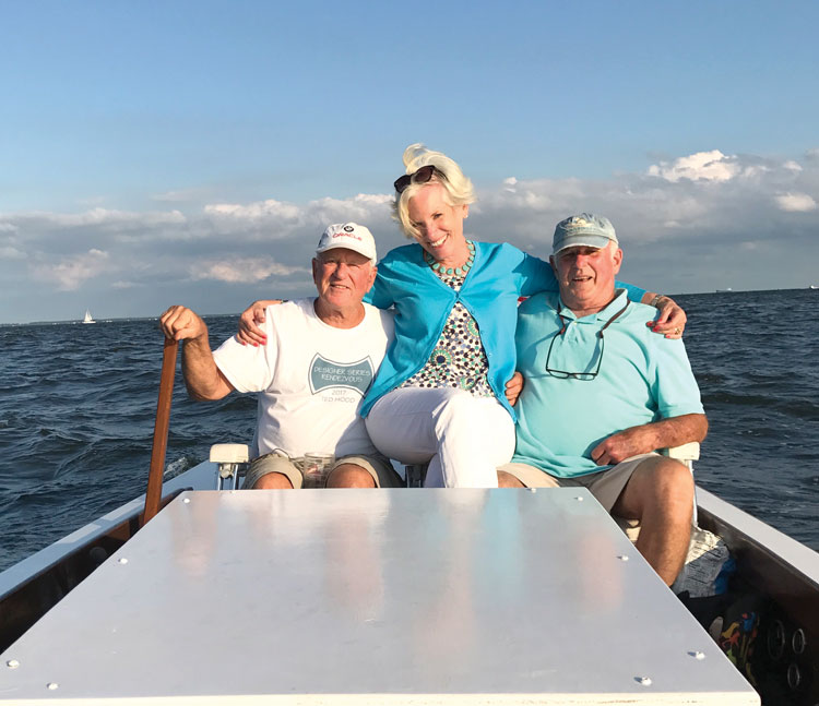 The author (left), his wife Frances, and Gene Miller aboard the Gucci Boat