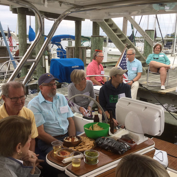 The Hunter Sailboat Association Station One members enjoy social events, raftups, and sharing tips about their boats.