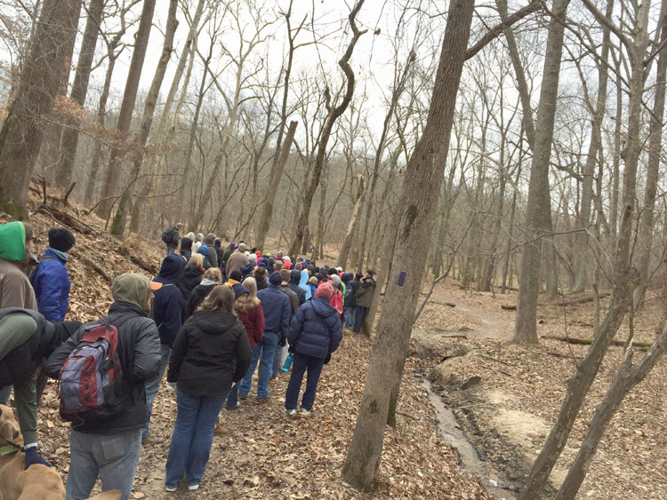 Hikers at Patapsco Valley State Park's First Day Hike January 1, 2016