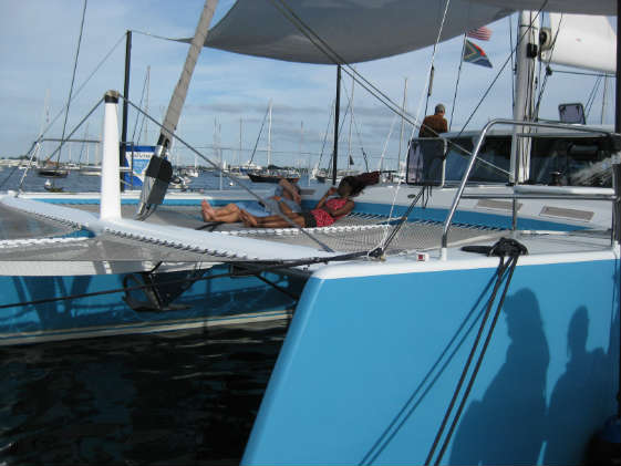 Relaxing onboard multihulls at the U.S. Sailboat Show.