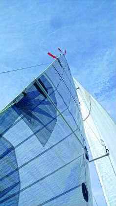 Sail trim telltales photo by John Schramm