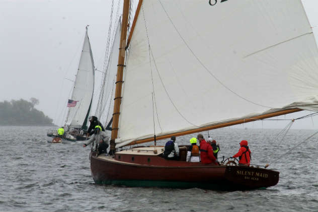 Silent Maid was one of the eight boats to finish on a rough Saturday on the Bay.