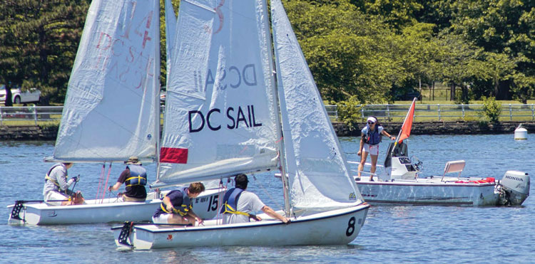 Learning on 13-foot FJs at DC Sail on the Potomac. Photo courtesy of DC Sail