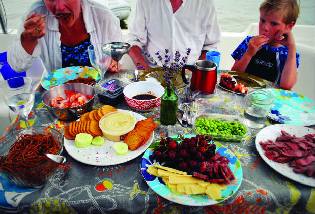 Multihull sailors have considerable room for dining.