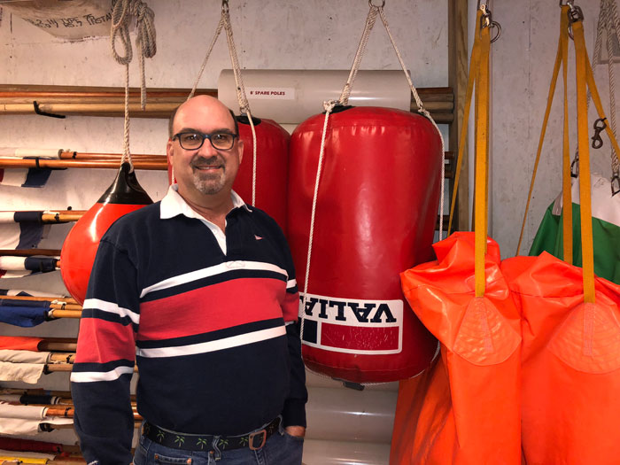Eastport Yacht Club Race Committee Chair and SpinSheet 2017 Volunteer of the Year, Keith Jacobs in the EYC RC shed.