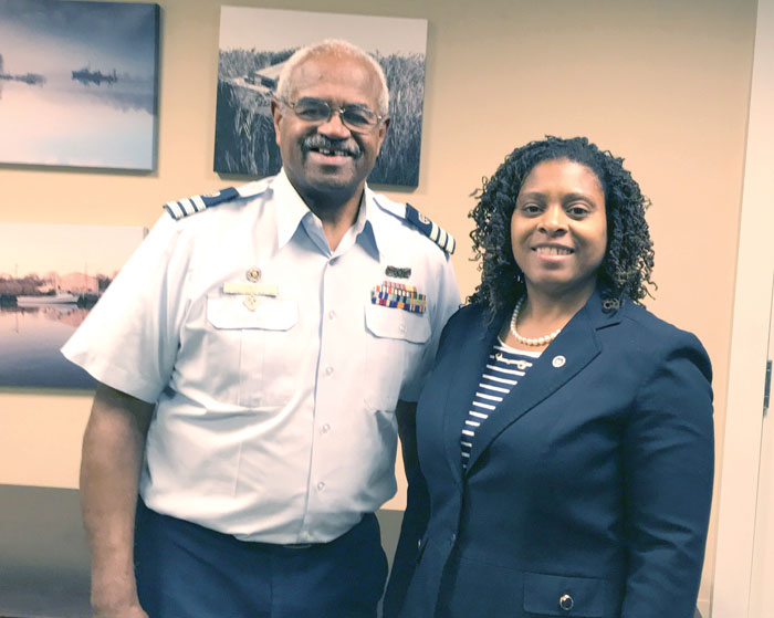 Leslie Nicholas with Thornell Jones of the U.S. Coast Guard Auxiliary.
