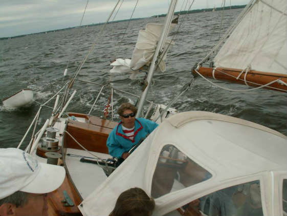 Virginia Albert is at the helm of Esperanza, a 1963 Hinckley B-40 during the 2013 Elf Classic.