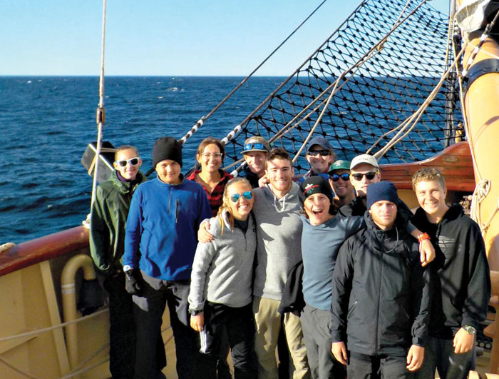 The author and fellow teen crew members aboard the Oliver Hazard Perry.