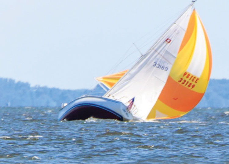 Old Blue, a Pearson 30, broaching, skippered by John Zseleczky. Photo by James Little