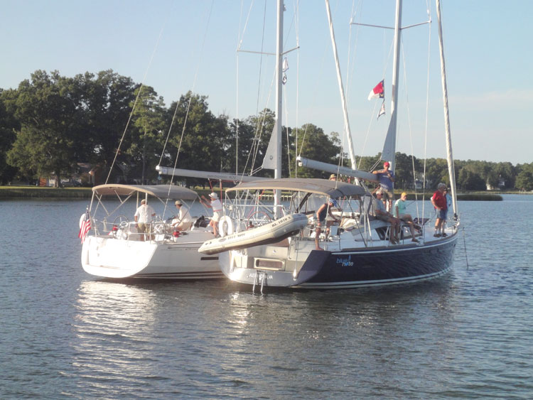 Raftup during the Philadelphia Sailing Club charter out of Deltaville, VA. Photo courtesy of Allen Smith