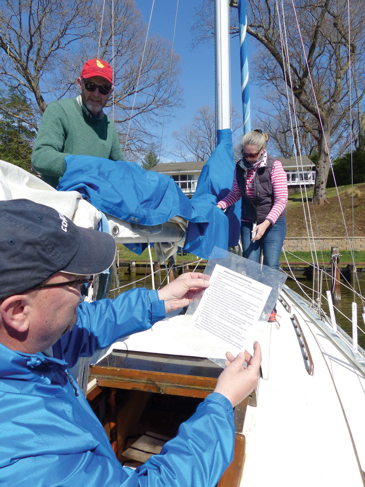 Laminated checklists enhance your ability to handle your sailboat.