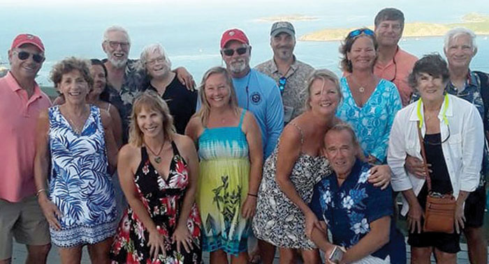 Salty dawgs celebrate Thanksgiving together at Hog Heaven overlooking North Sound, Virgin Gorda, BVI.