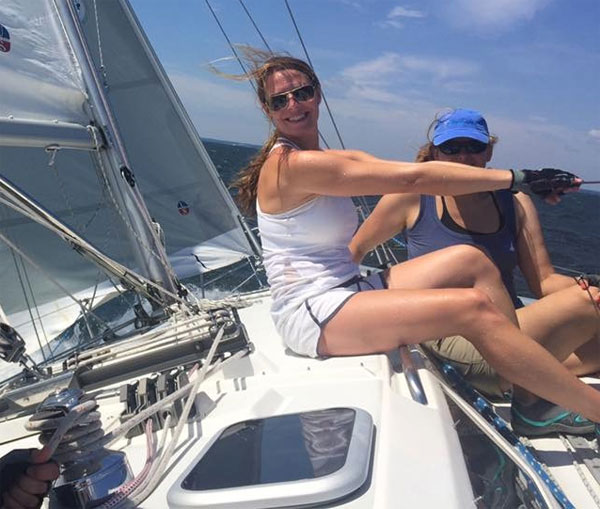 Theresa Rosbeck has found many opportunities as a new sailor. Sometimes she takes the helm or brings her daughters along. Here she enjoys the ride.