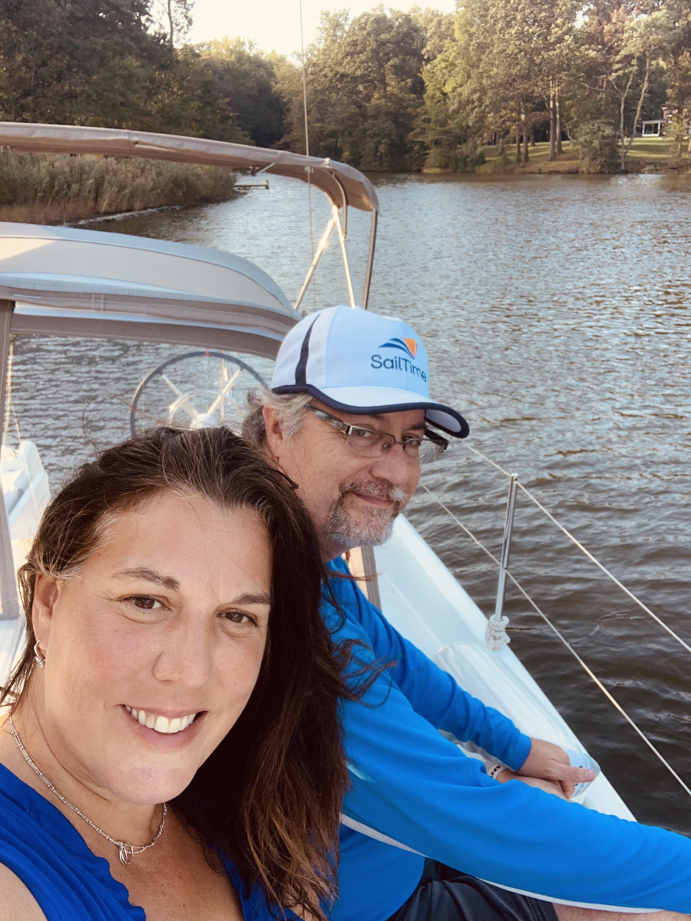 Tom and Christine enjoying sailing