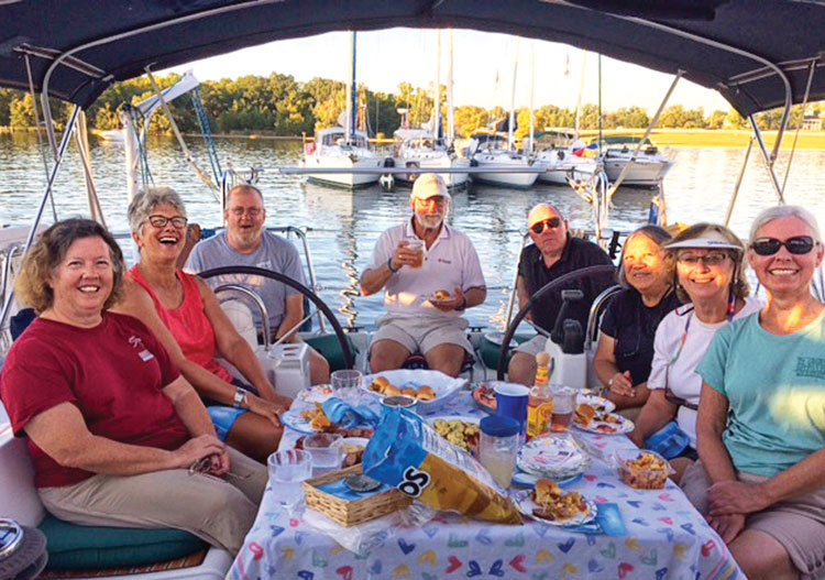 Wilmington Sail & Power Squadron September raftup in Eagle Cove.