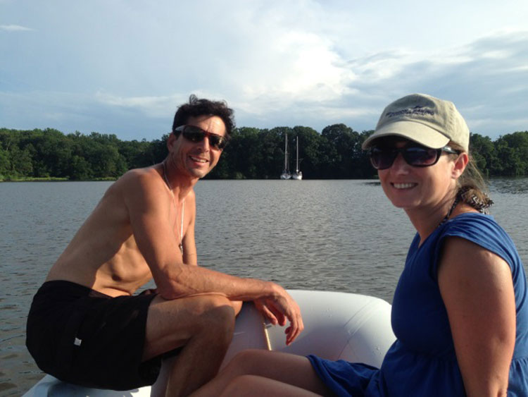 The author and her boyfriend Jordan Snyder venture out on their dinghy. Photo by Dave Sire