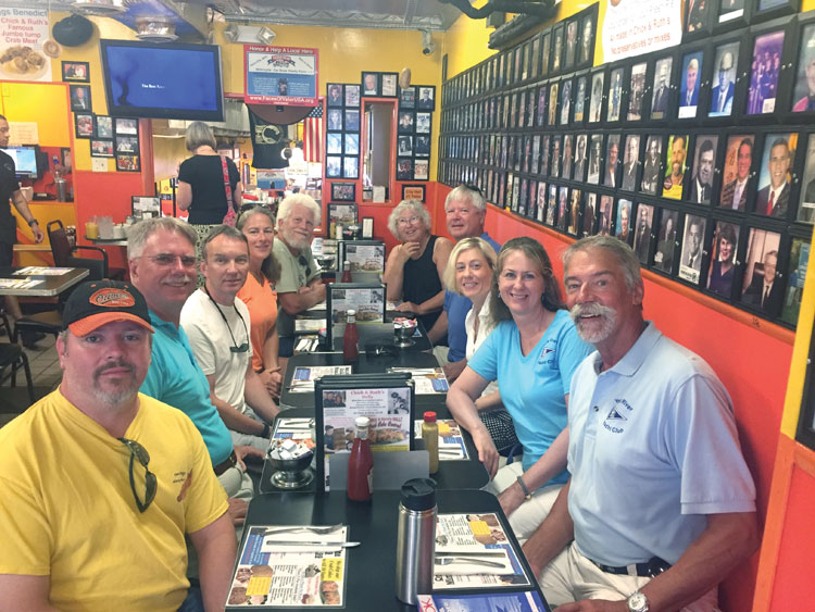 York River Yacht Club cruisers meeting at Chick and Ruth's in Annapolis. Photo courtesy of Tangie Motley