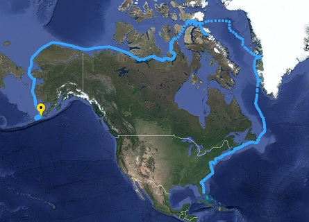 Northwest Passage route for the simons