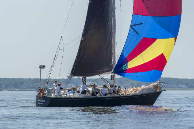 Carina at the start of the Annapolis to Newport Race 2017. The crew is now en route to Halifax. Photo by Al Schreitmueller