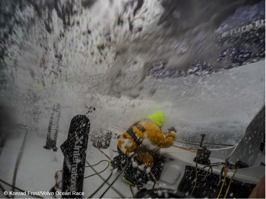 Breaking distance records is very wet work. - photo by Konrad Frost from volvooceanrace.com