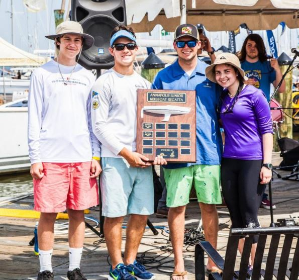 Archbishop Spalding High School Sailing Team: Will Comerford, Jake Vickers, Jack Irvin, and Nataila Pereira. Photo courtesy of Annapolis Boat Shows