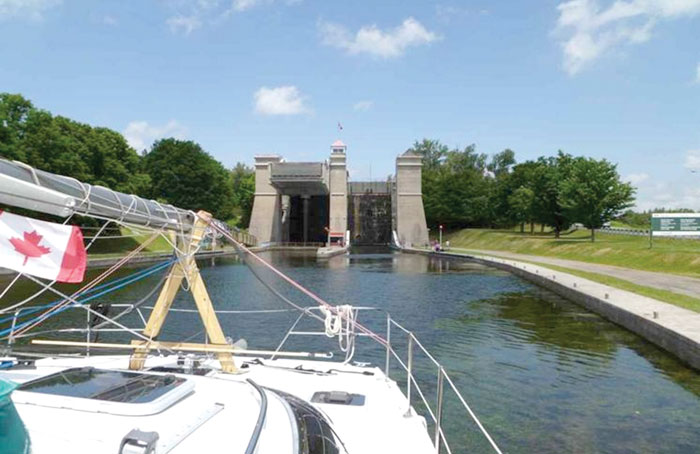 Approaching the Great Lakes' Trent hydraulic lift lock. Photo courtesy of GLCCSchool