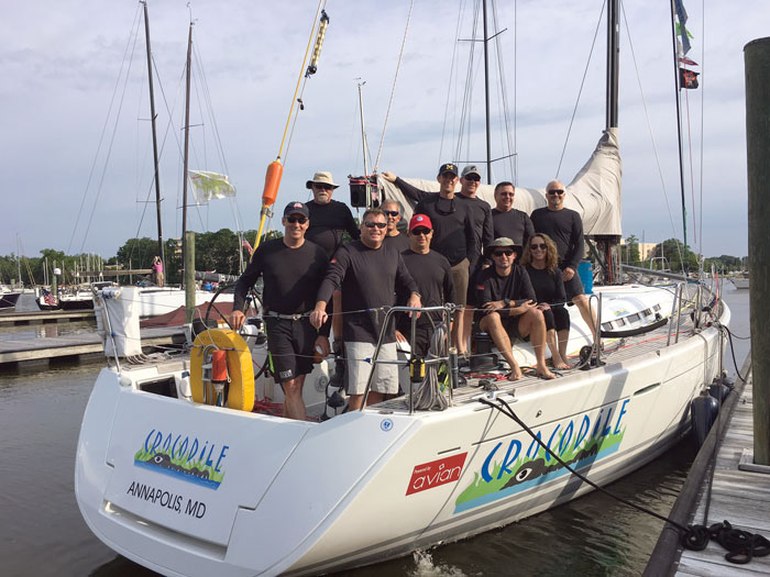 "The Sailing Vessel Crocodile and her owner ""Gus"" Ward and crew 2017 Annapolis Newport Race"